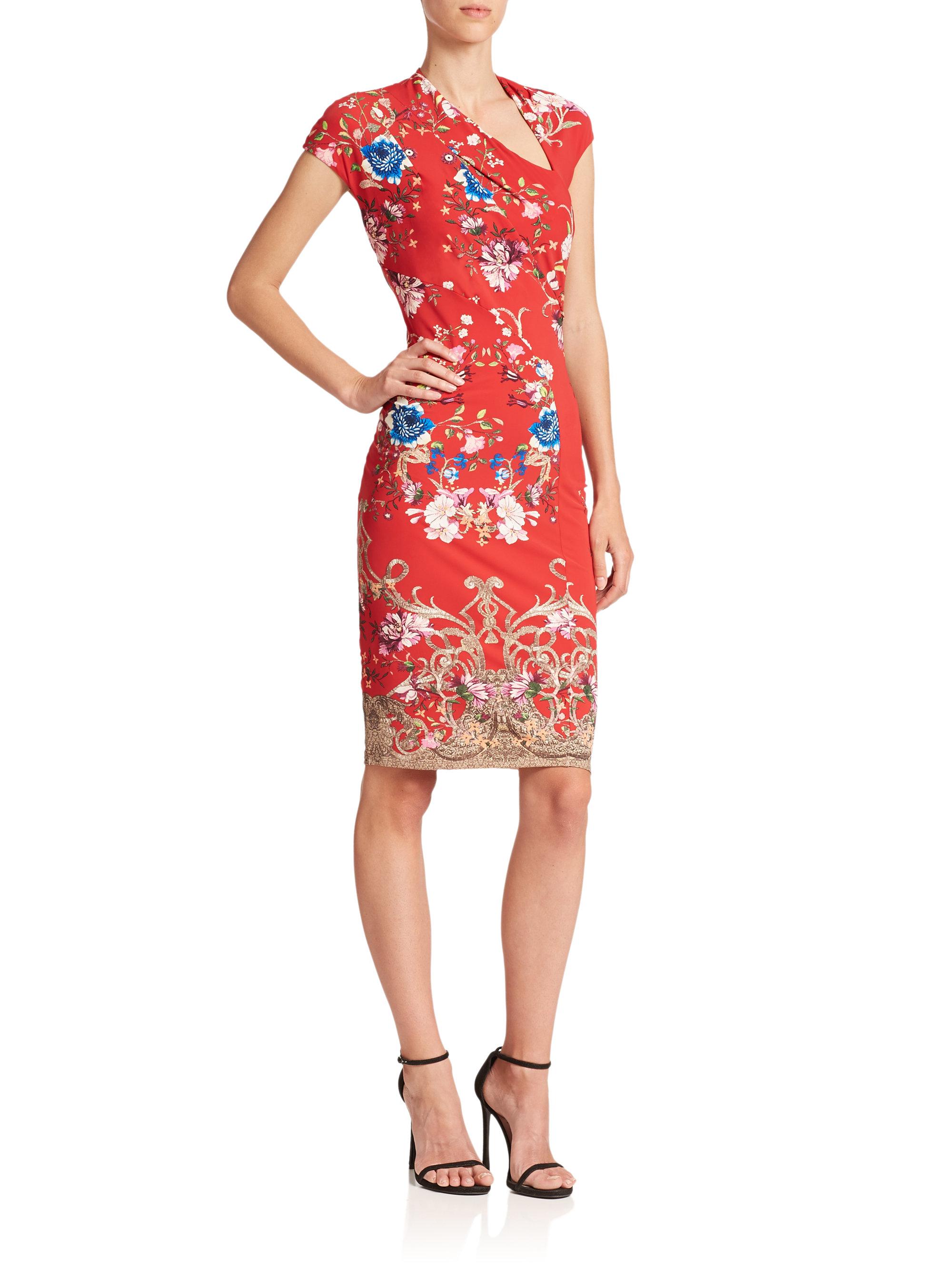 Lyst Roberto Cavalli Diagonal Floral Print Cap Sleeve Dress In Red