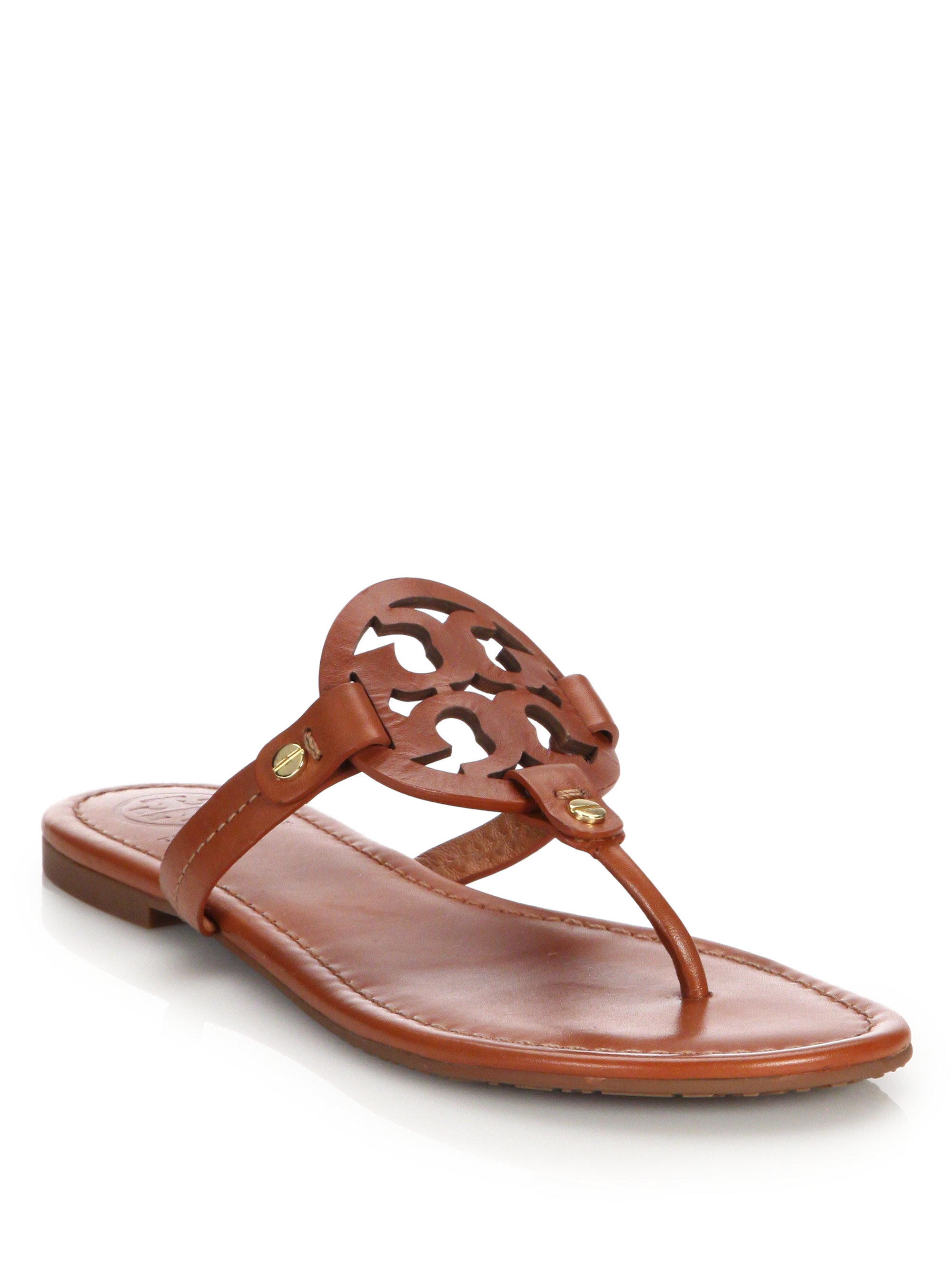 tory burch miller leather logo thong sandals in brown lyst. Black Bedroom Furniture Sets. Home Design Ideas