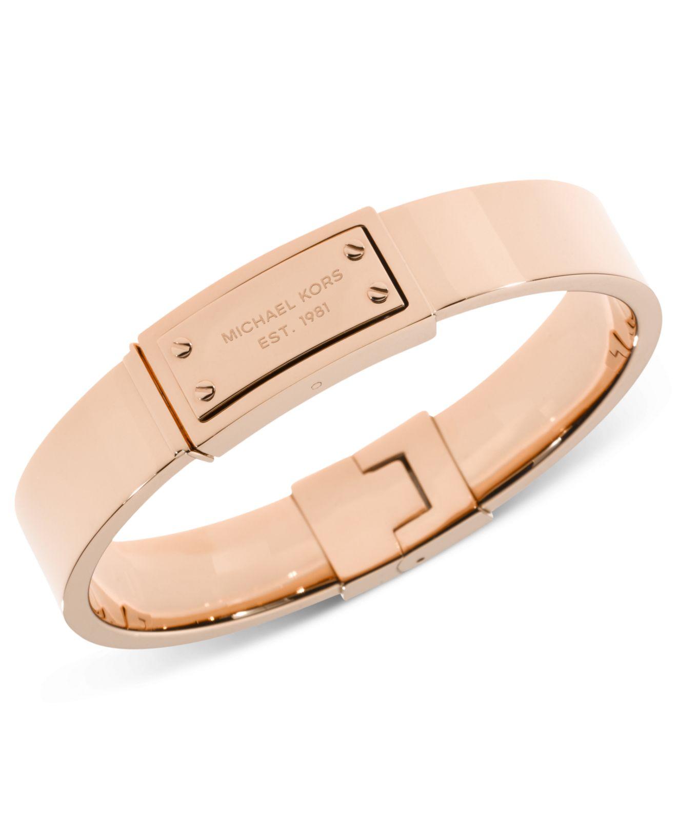 Michael Kors Rose Gold-Tone Logo Plaque Bangle Bracelet in Gold  rose Rose Gold Bangle Bracelet