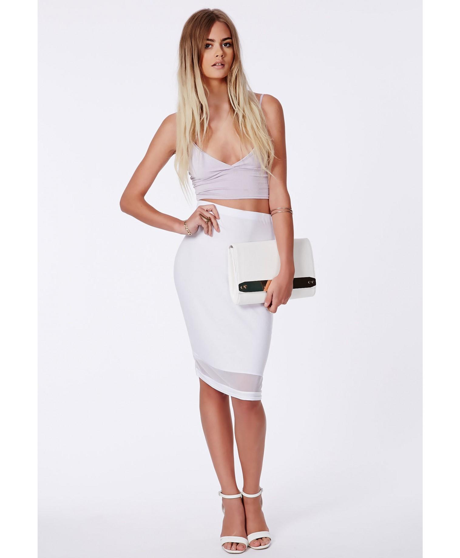 White Mesh Skirt - Skirts