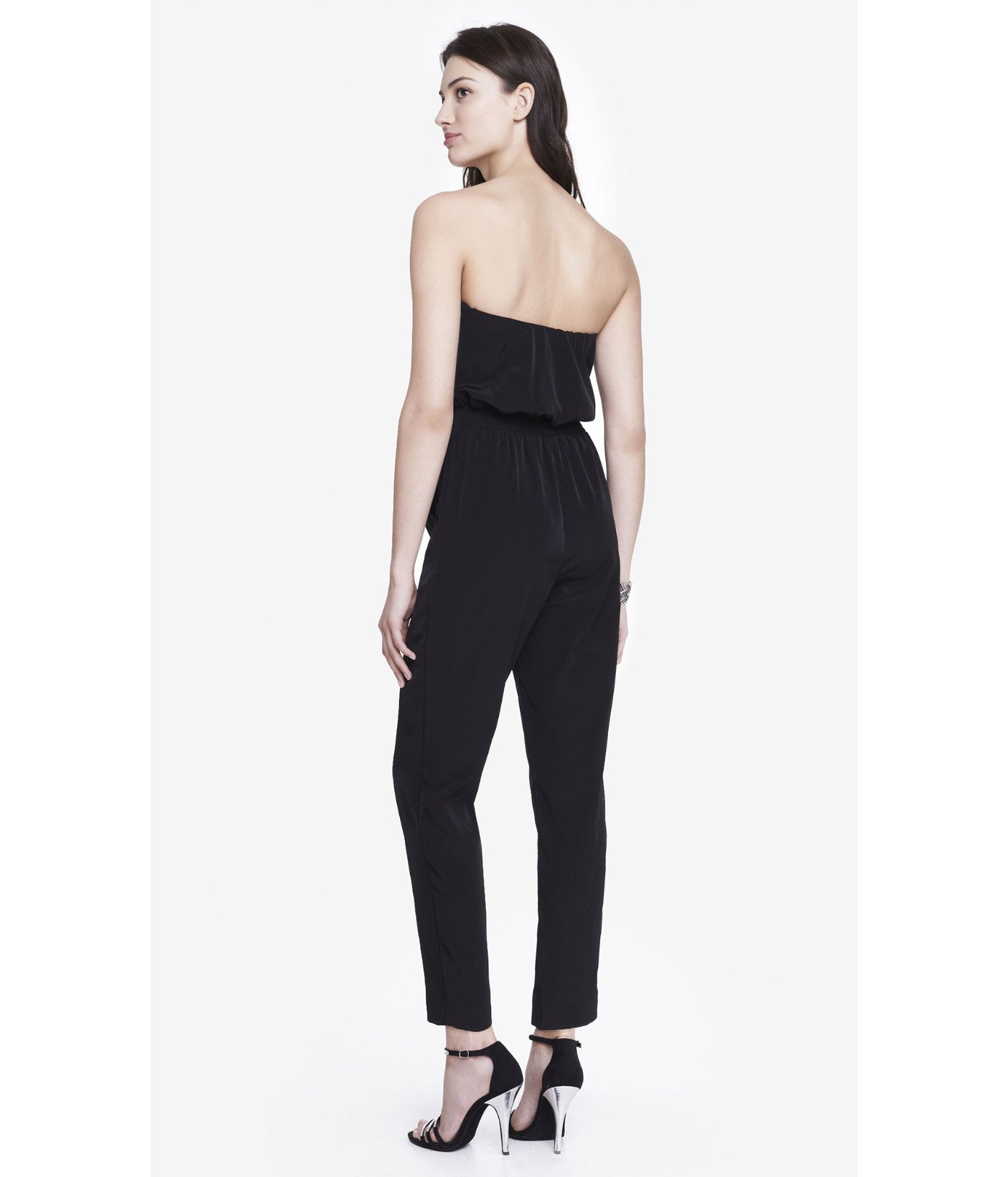 bd5120e65b92 Lyst - Express Strapless Sweetheart Neck Jumpsuit in Black