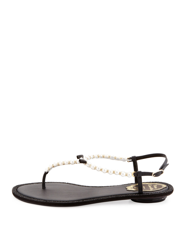2e7586ed96ee9e Lyst - Rene Caovilla Pearly   Crystal Flat Thong Sandal in Black