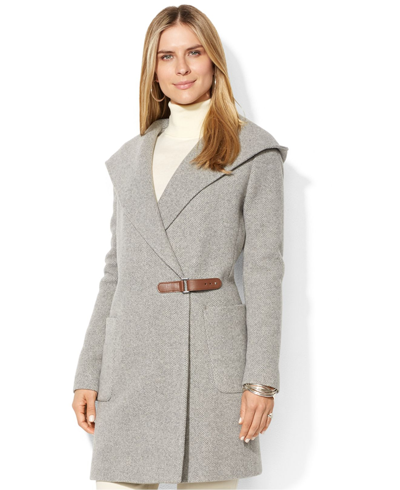 Lauren by ralph lauren Hooded Herringbone Wool-Cashmere-Blend Wrap ...