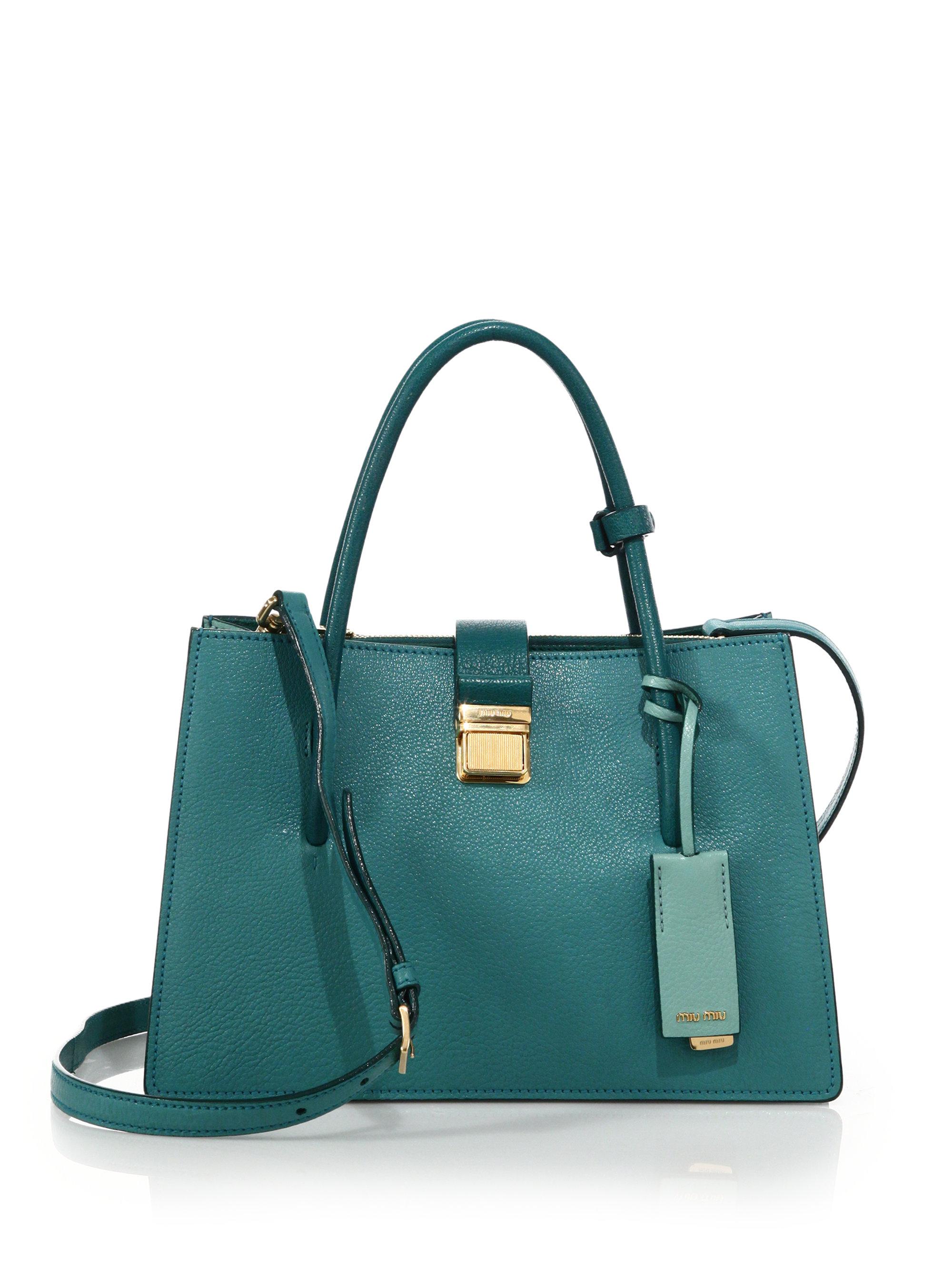 57844668799a Lyst - Miu Miu Madras Small Leather Satchel in Blue