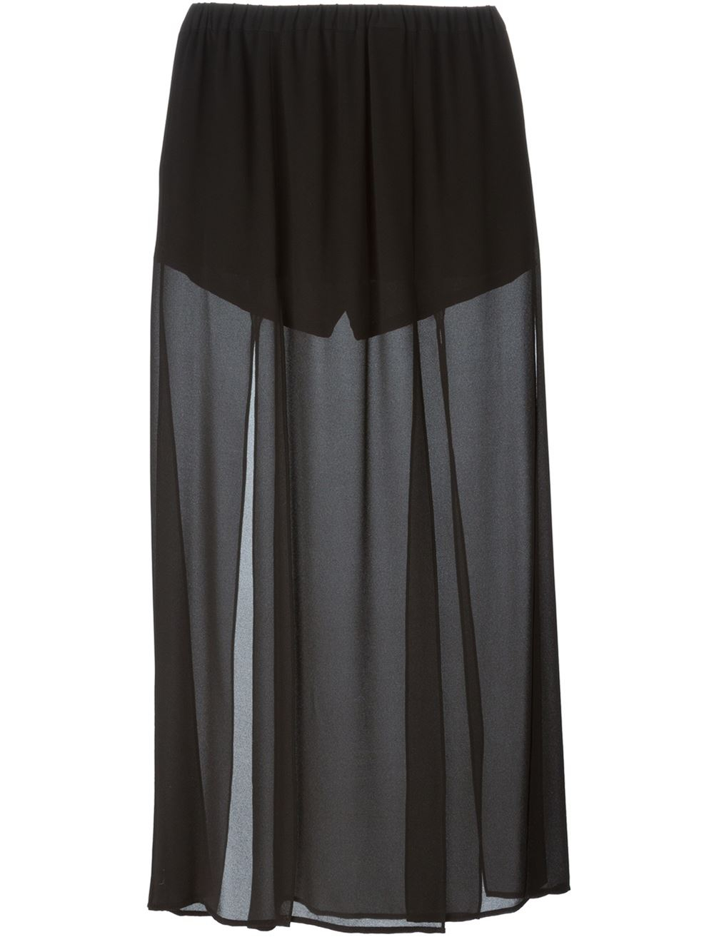 michael michael kors black sheer maxi skirt lyst