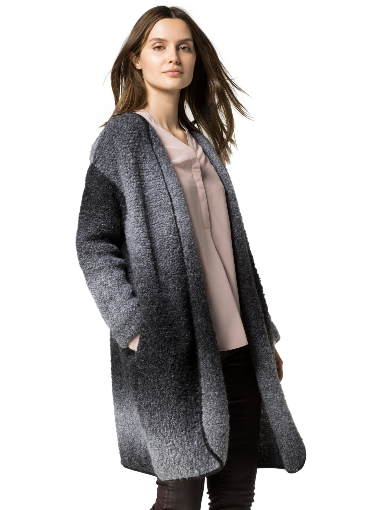 tommy hilfiger dinori boucle coat in gray lyst. Black Bedroom Furniture Sets. Home Design Ideas