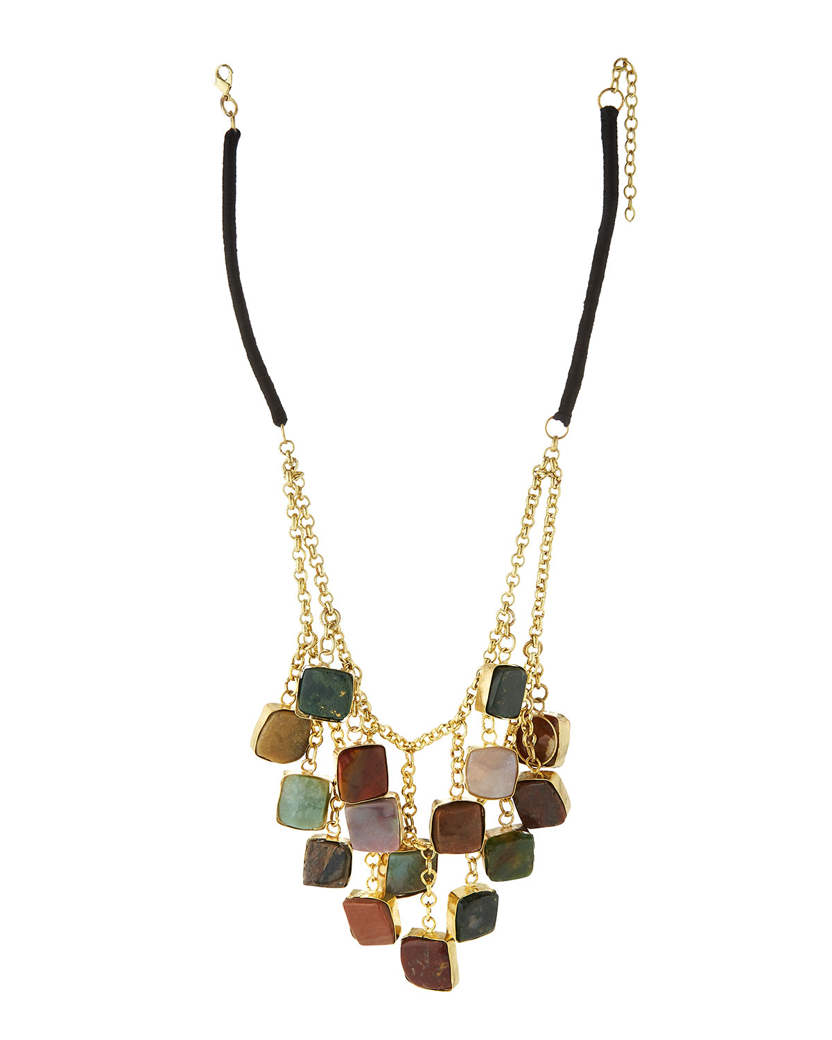 Kenneth Jay Lane Polished Gold Jade Stations Necklace Gold/jade KNHiiL7o
