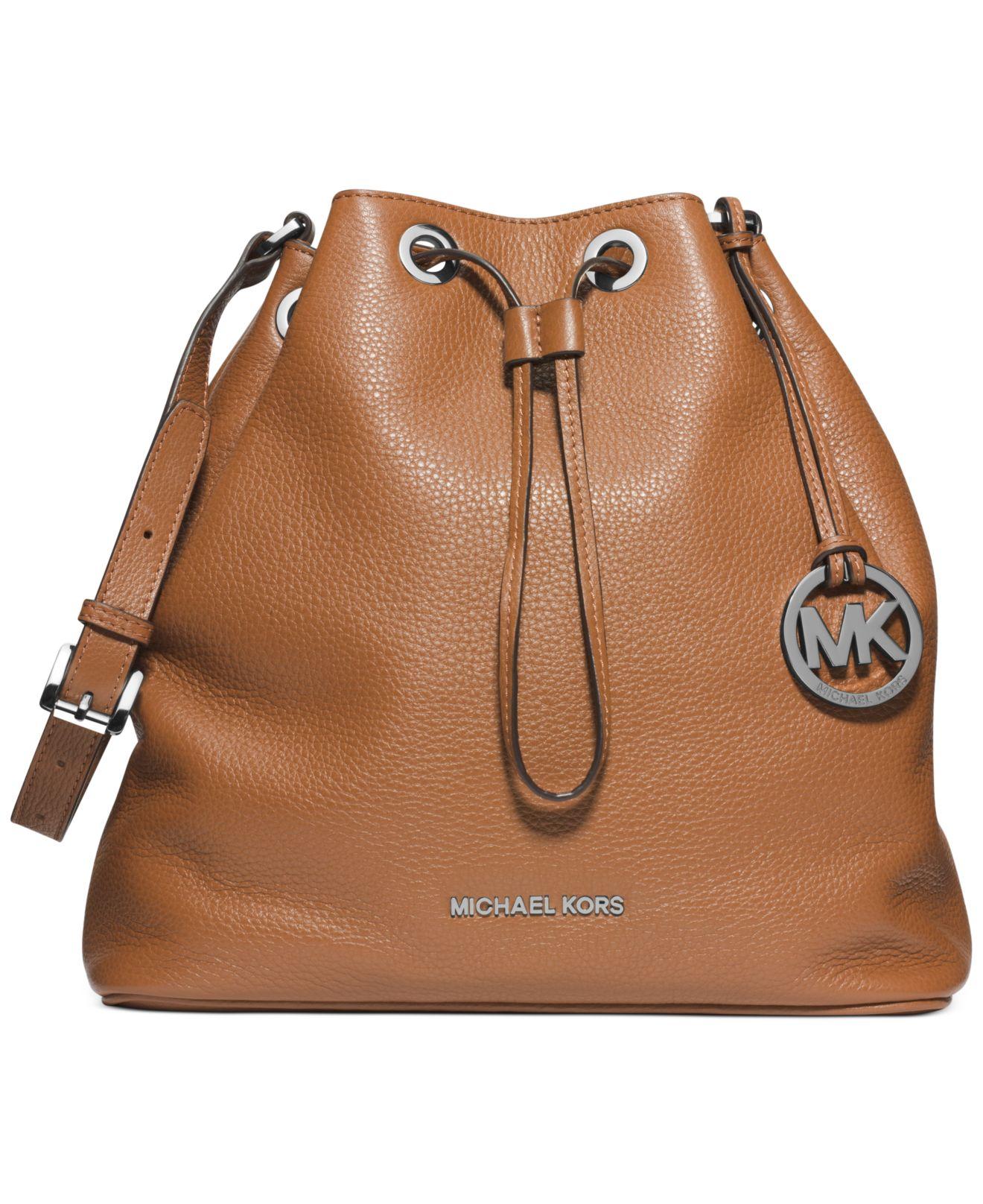 lyst michael kors michael jules large drawstring shoulder bag in brown rh lyst com