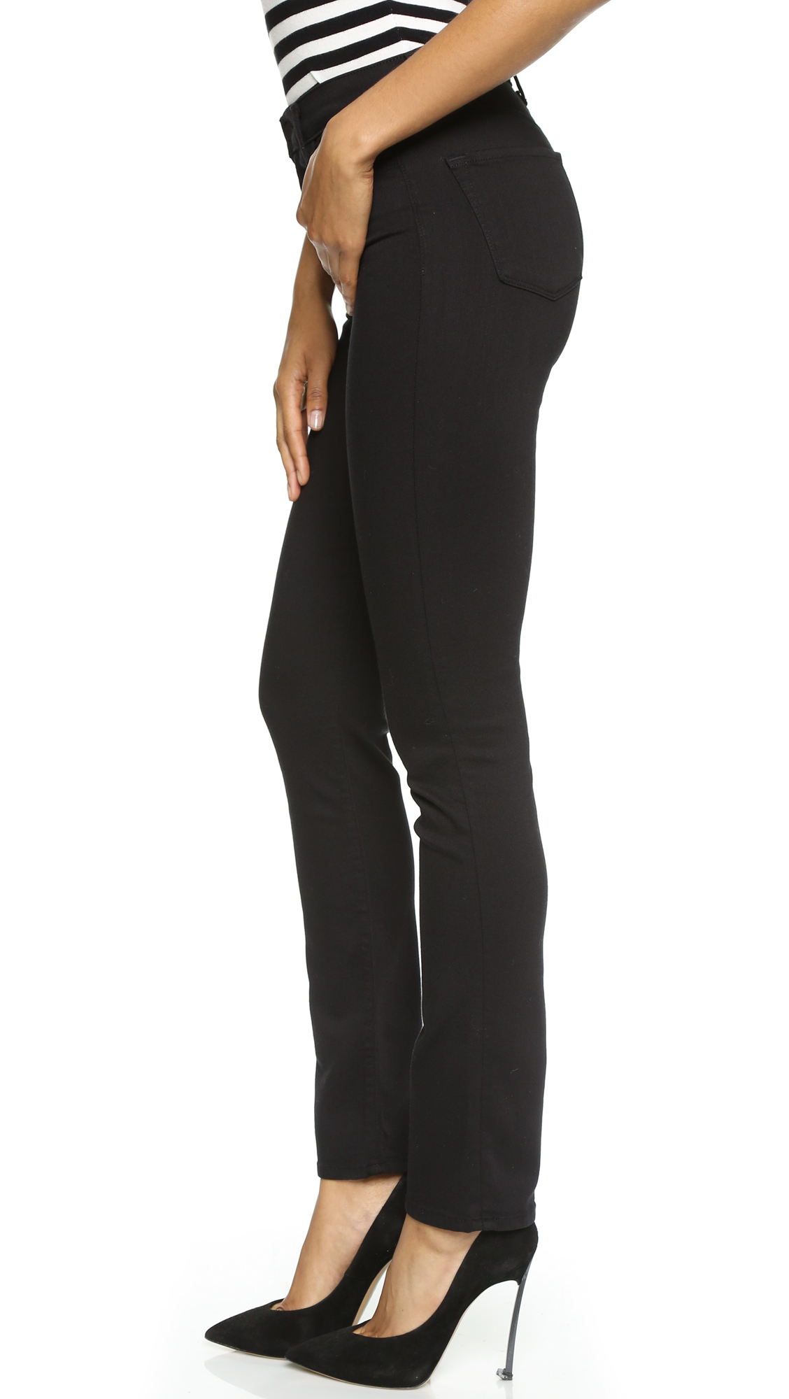 j brand maria high rise jeans in black lyst. Black Bedroom Furniture Sets. Home Design Ideas