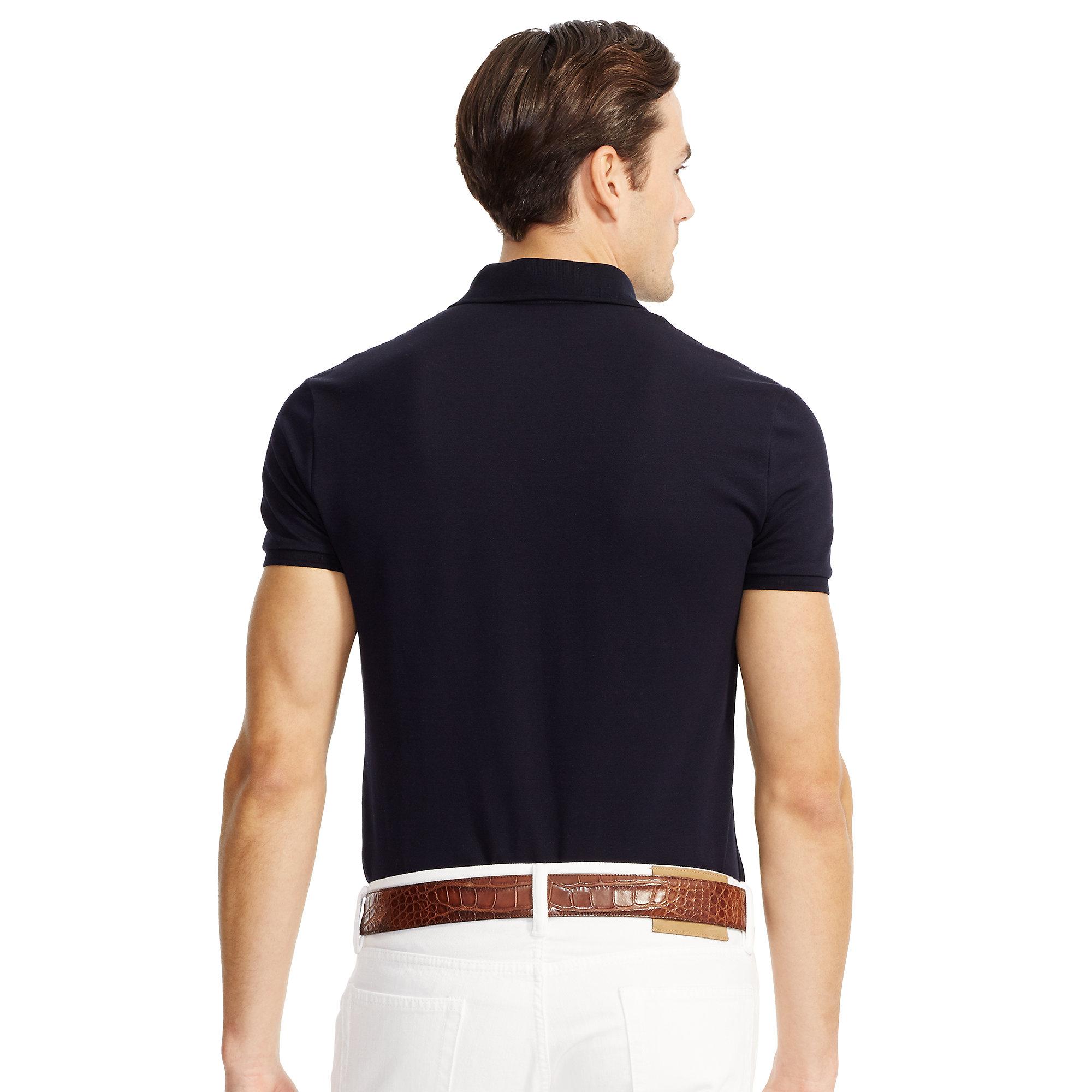 Ralph lauren black label stretch cotton polo shirt in blue for Ralph lauren black label polo shirt