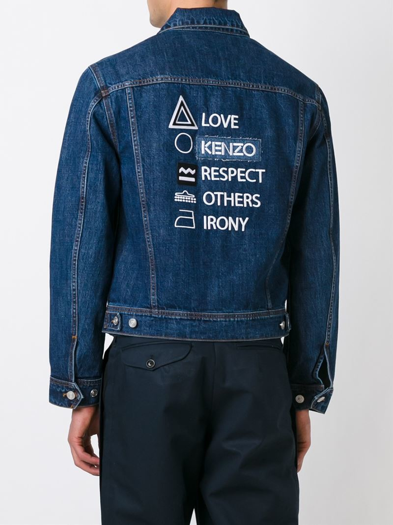 Lyst Kenzo Embroidered Denim Jacket In Blue For Men
