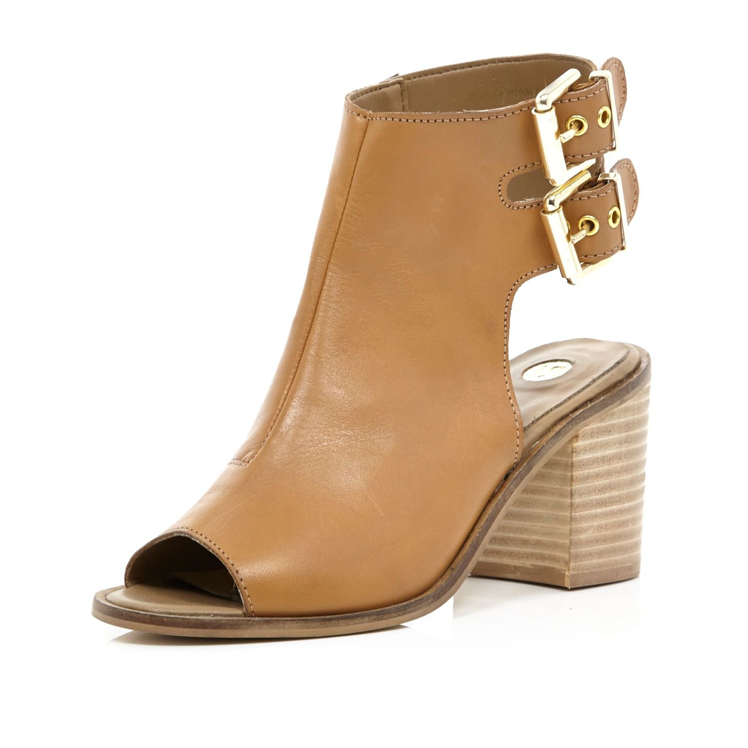 d9926426bbd River Island Tan Cut Out Block Heel Shoe Boots in Brown - Lyst
