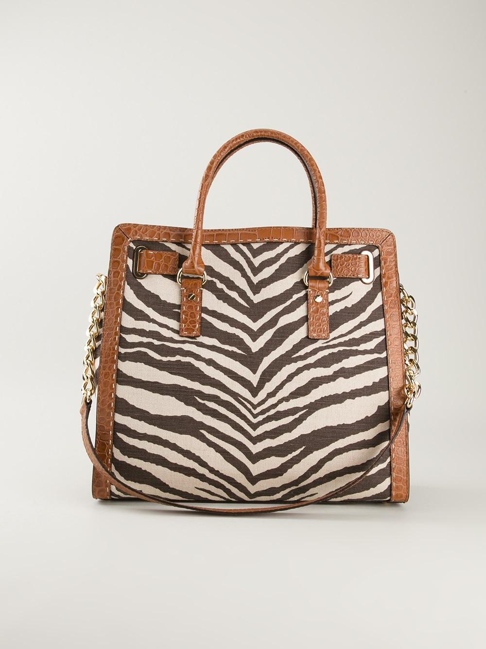 3b5fd910d ... closeout lyst michael michael kors hamilton zebra print shoulder bag in  brown 6d1a0 2bcaa