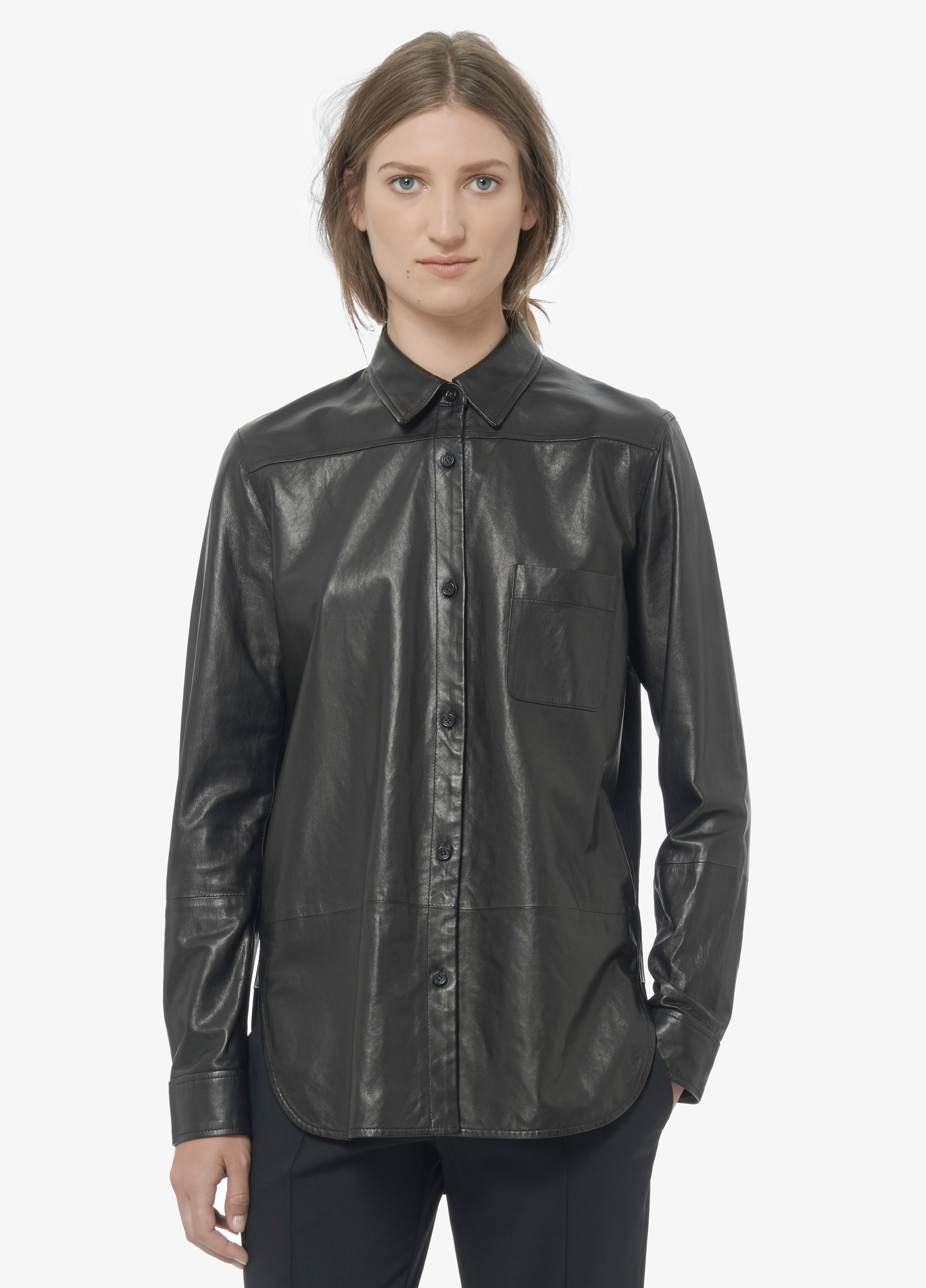 Vince Leather Button Up Shirt In Black Lyst