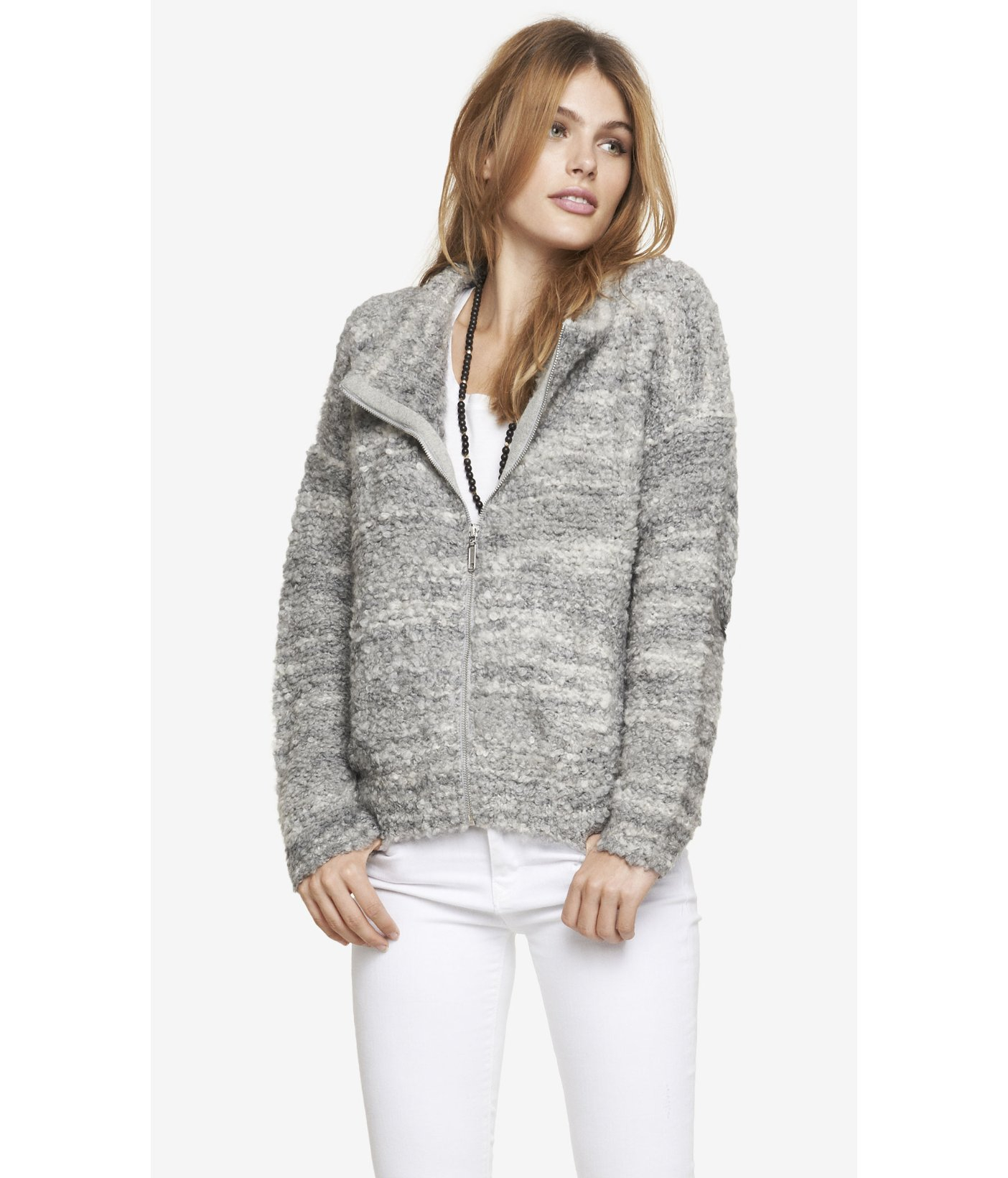 c80cb45b4363 Lyst - Express Cowl Neck Boucle Sweater Jacket in Gray