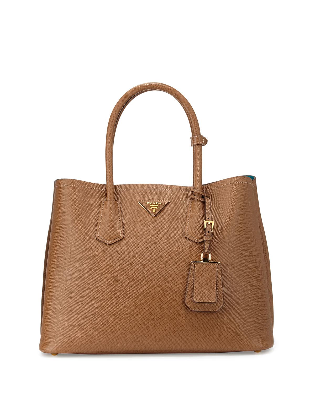 prada saffiano cuir medium double bag in brown lyst. Black Bedroom Furniture Sets. Home Design Ideas