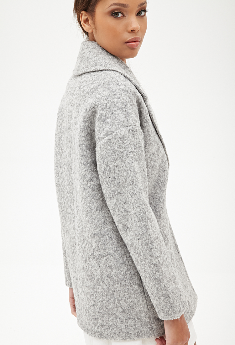 Forever 21 Wool-blend Boucle Coat in Gray | Lyst