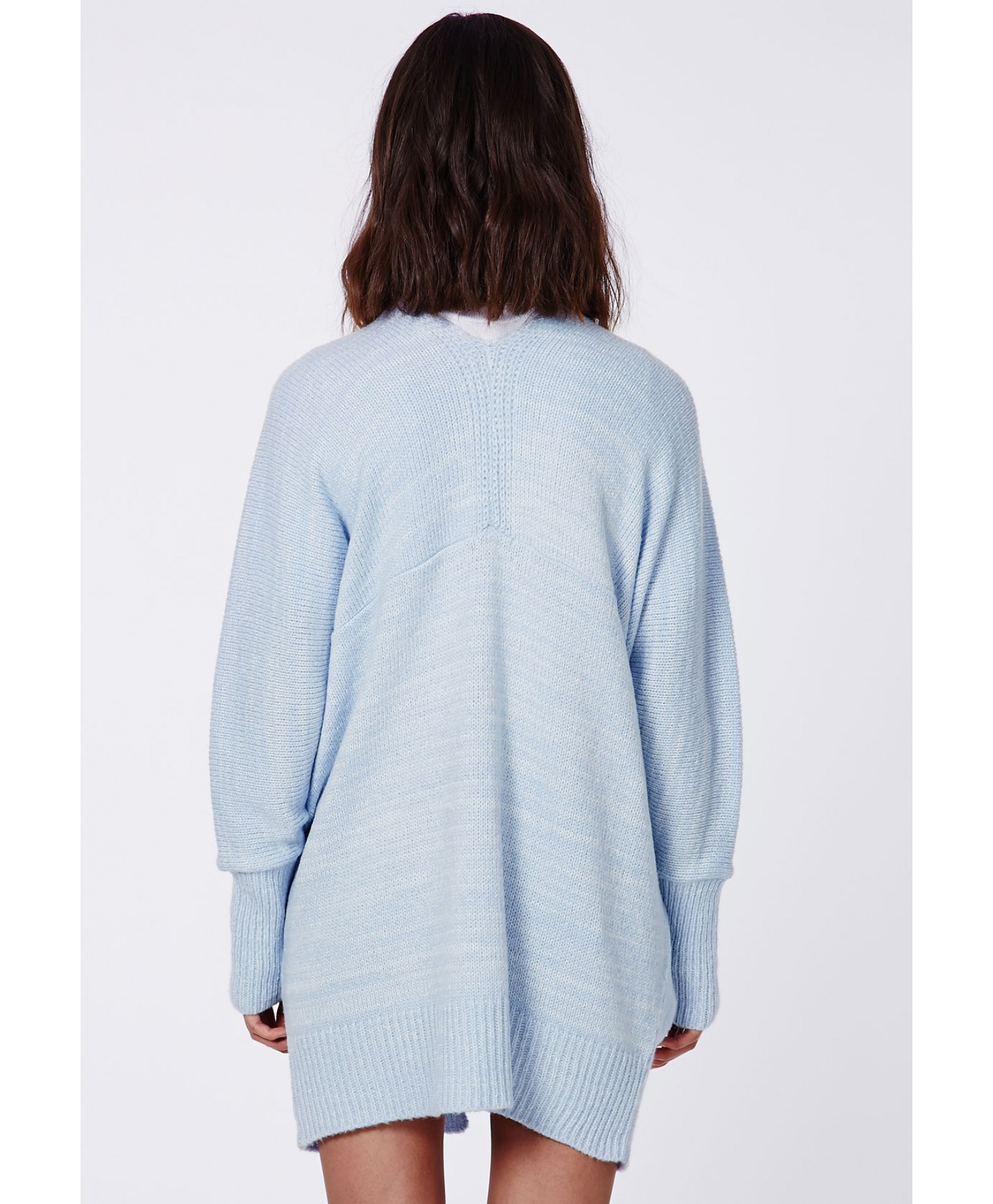 908651febe Lyst - Missguided Valene Oversize Batwing Slouch Cardigan Light Blue ...