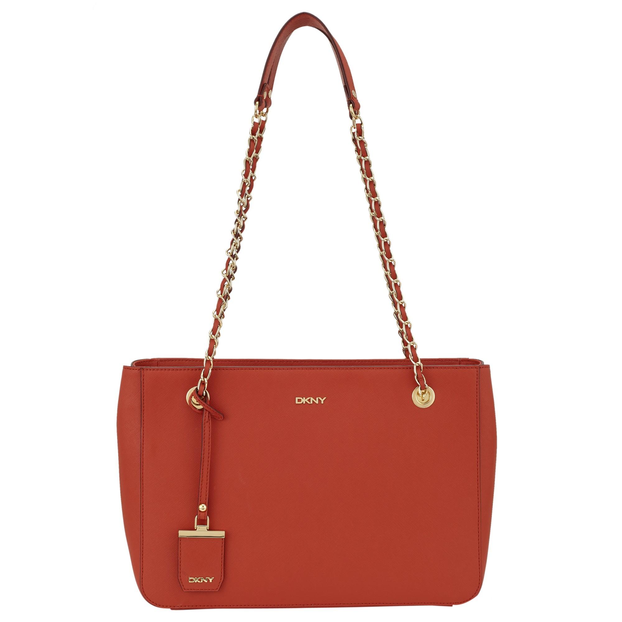 DKNY Bryant Park Saffiano Leather Chain Shopper Bag in Orange - Lyst 430552e2fb
