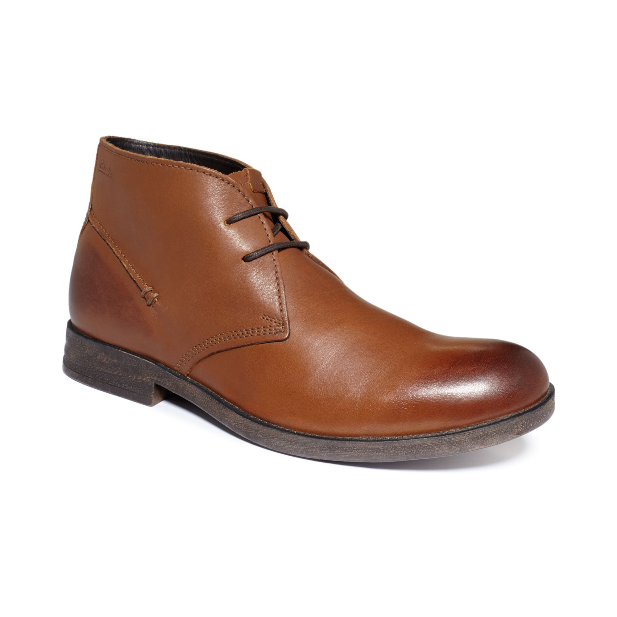 clarks goby hi chukka boots in brown for lyst