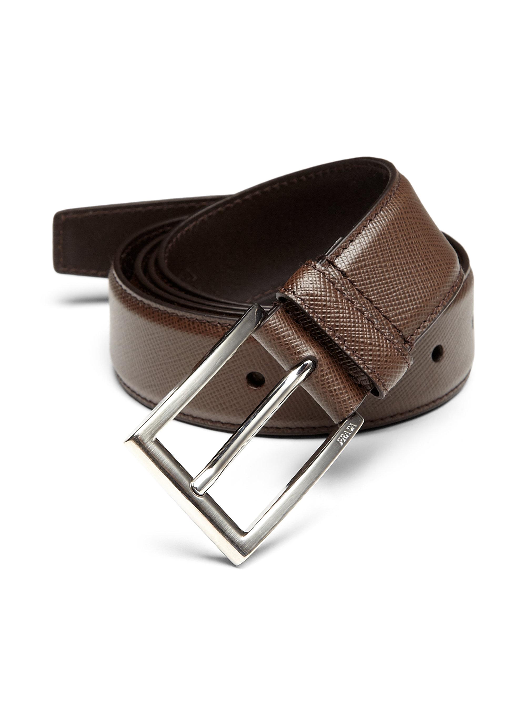 c559ea66ada90 ... discount code for lyst prada saffiano dress belt in brown e25d6 dc6ad