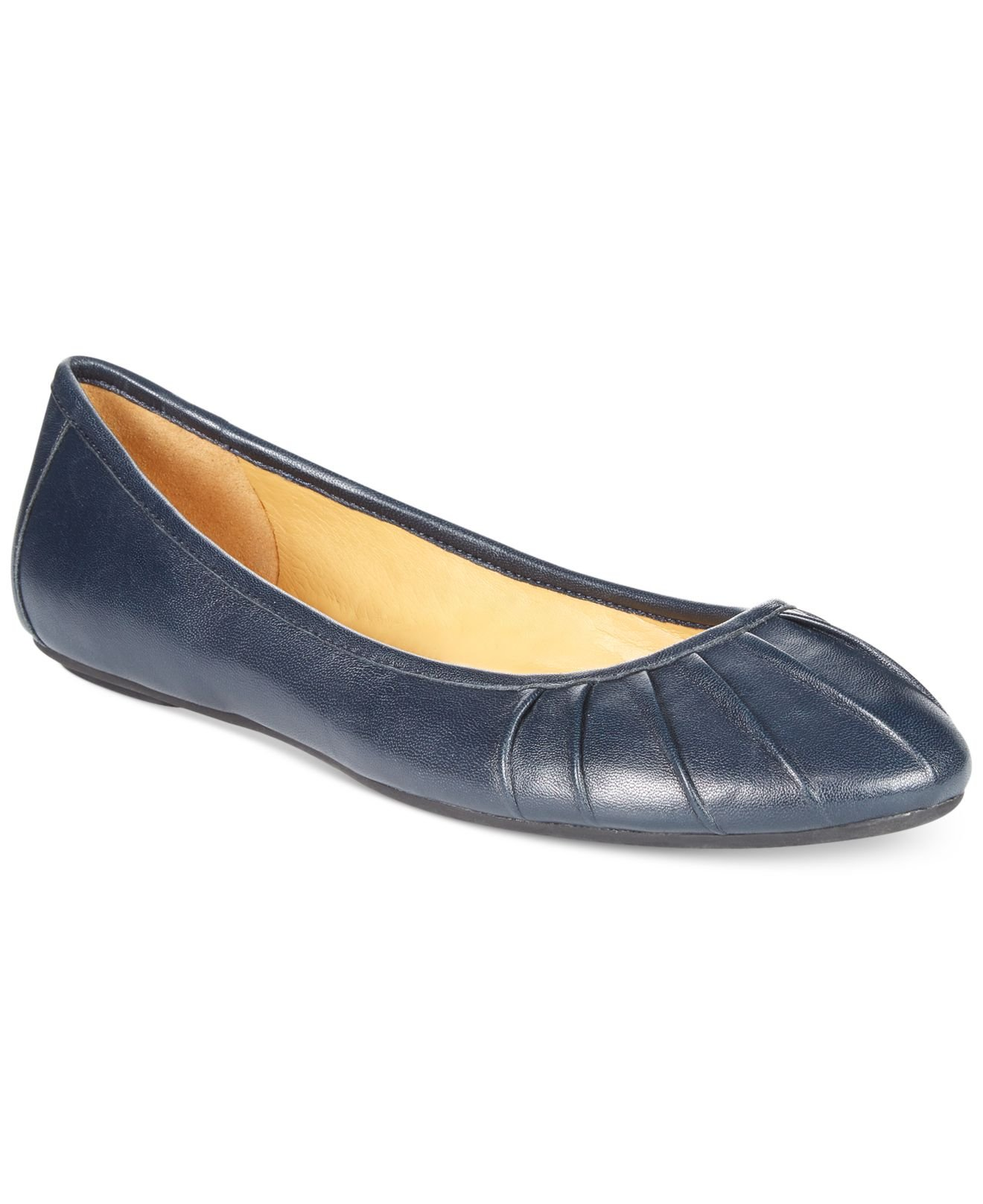 Lyst Nine West Blustery Pleated Flats In Blue
