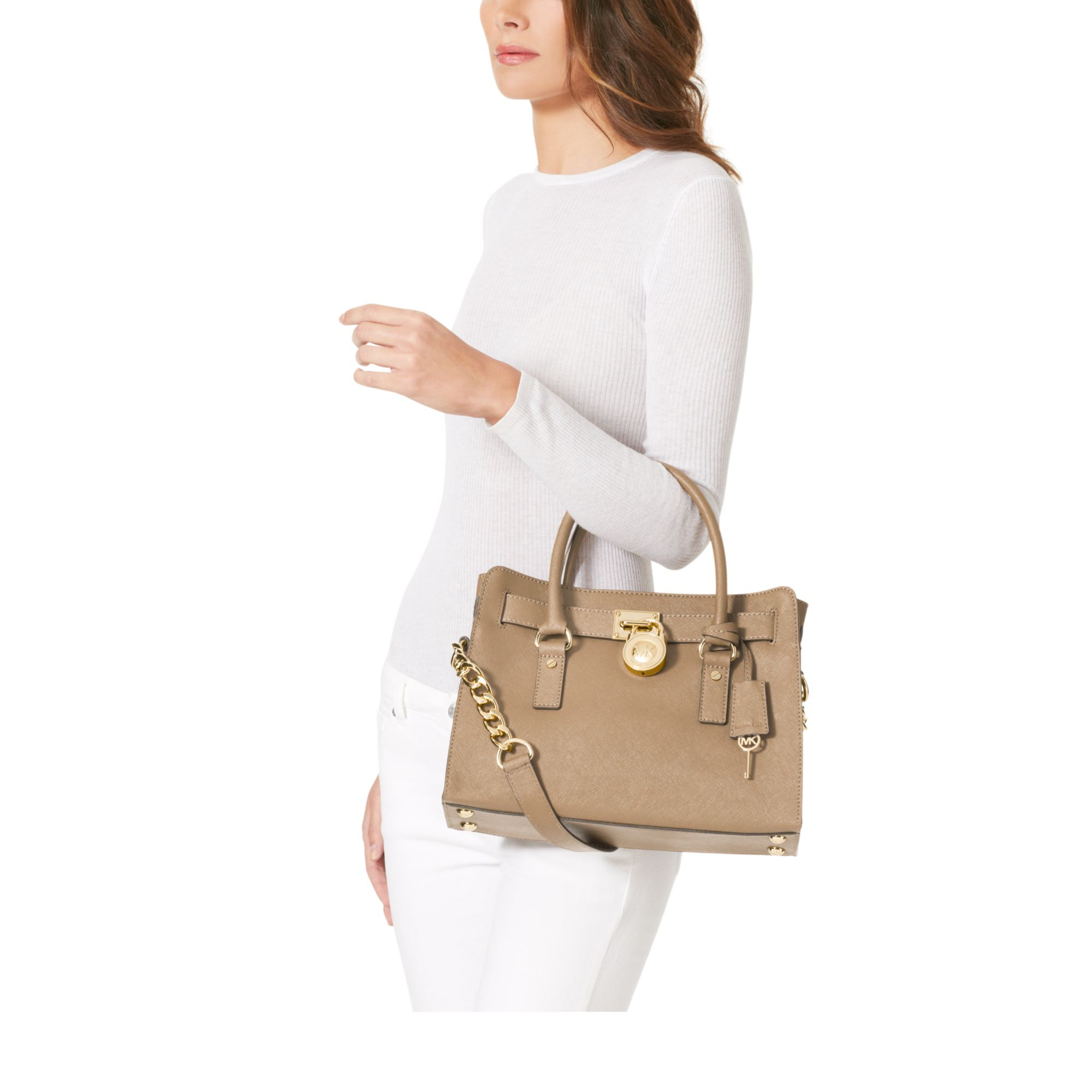 077439432f1486 netherlands lyst michael kors hamilton saffiano leather medium satchel in  natural cdc04 d43e7