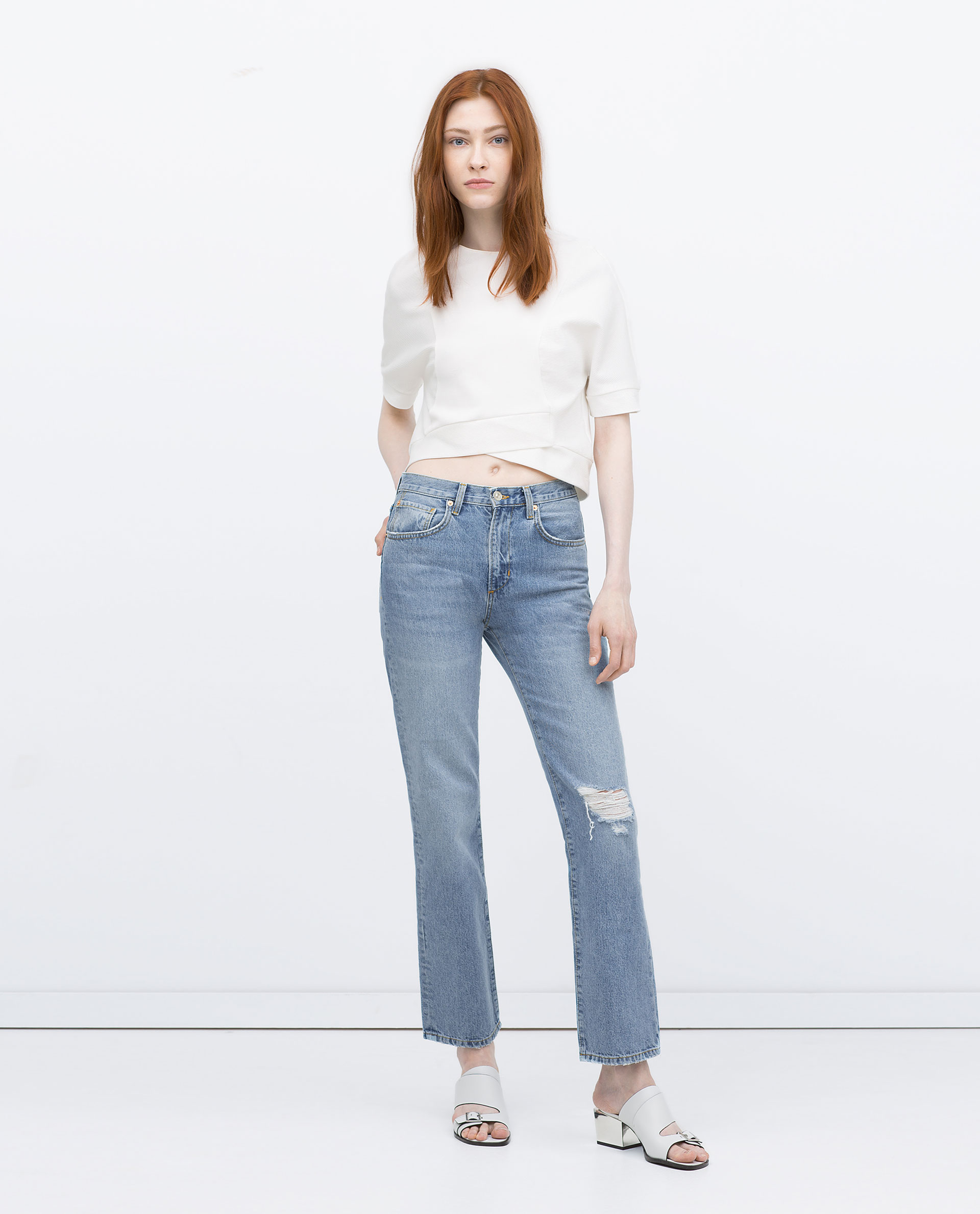 Zara Straight Cut High Waist Jeans Straight Cut High Waist Jeans ...