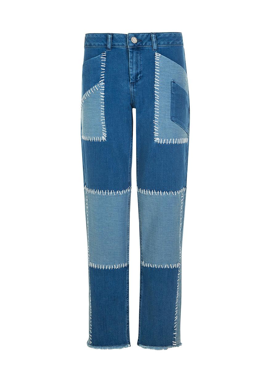 House Of Holland Patchwork Cotton Denim Boyfriend Jeans Lyst