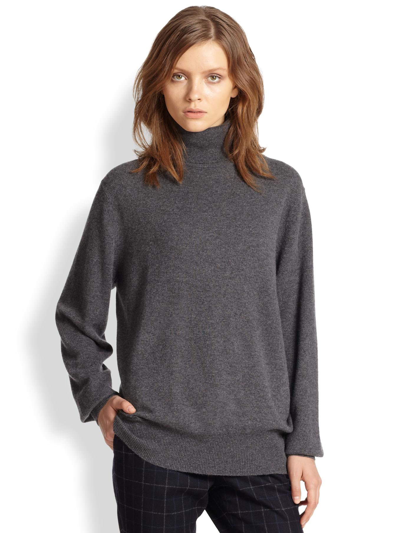 Theory Pristelle Cashmere Turtleneck Sweater in Gray | Lyst