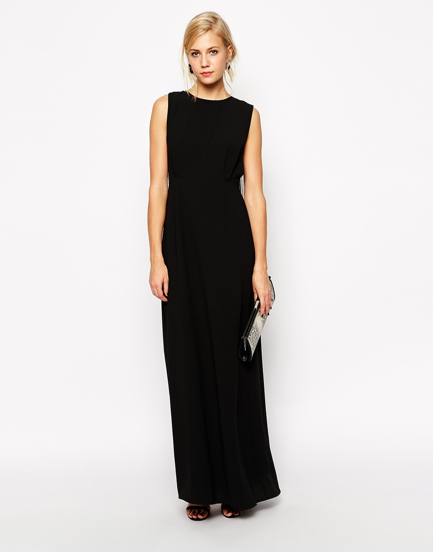 Asos Clean T Shirt Maxi Dress With Fringe Back In Black Lyst