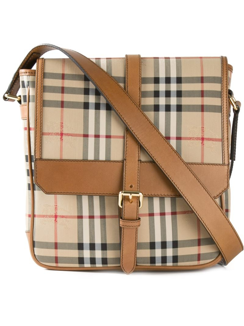 c7afb65226ef Lyst - Burberry  horseferry Check  Messenger Bag in Natural for Men