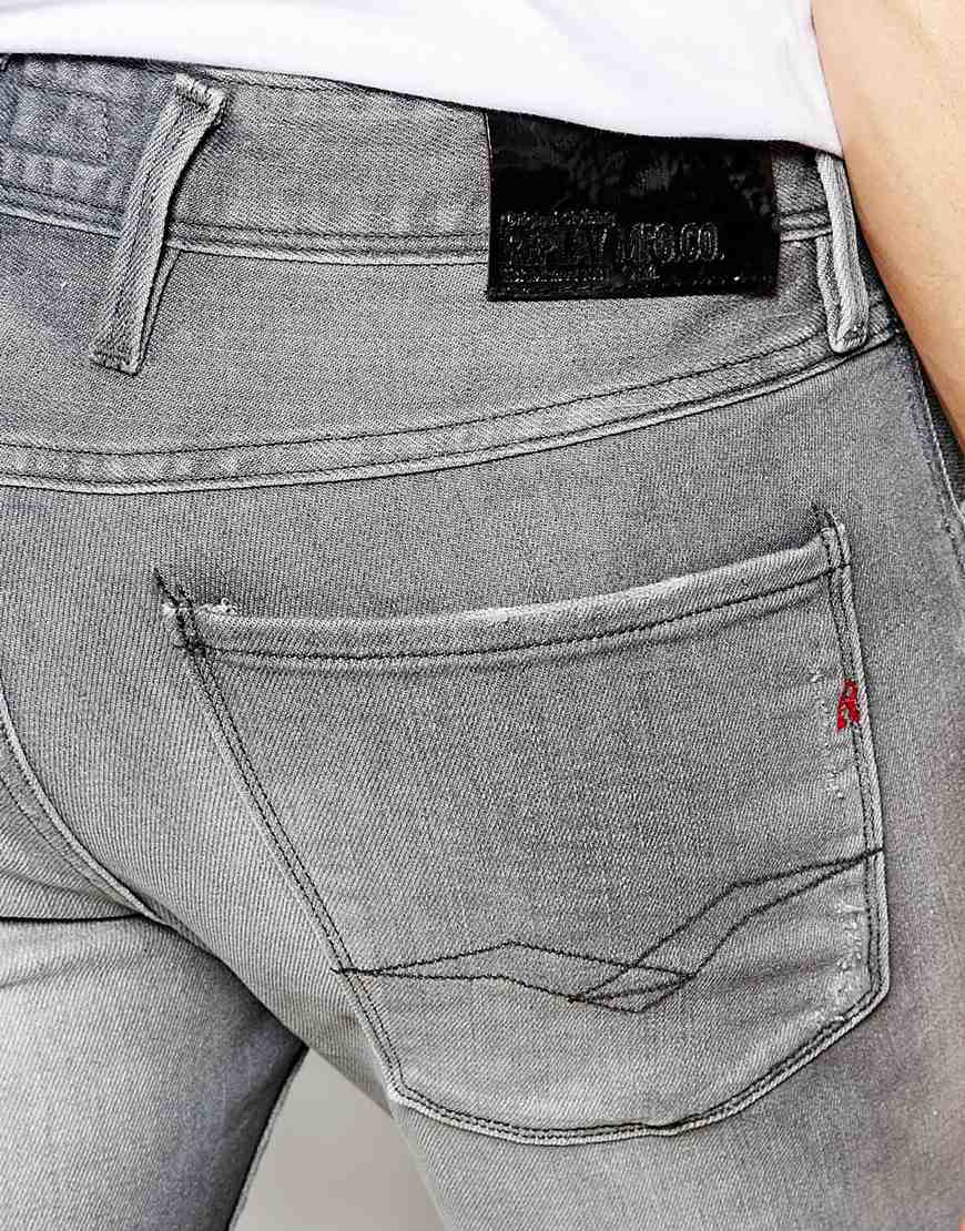 replay jeans anbass slim stretch fit grey faded in gray for men lyst. Black Bedroom Furniture Sets. Home Design Ideas
