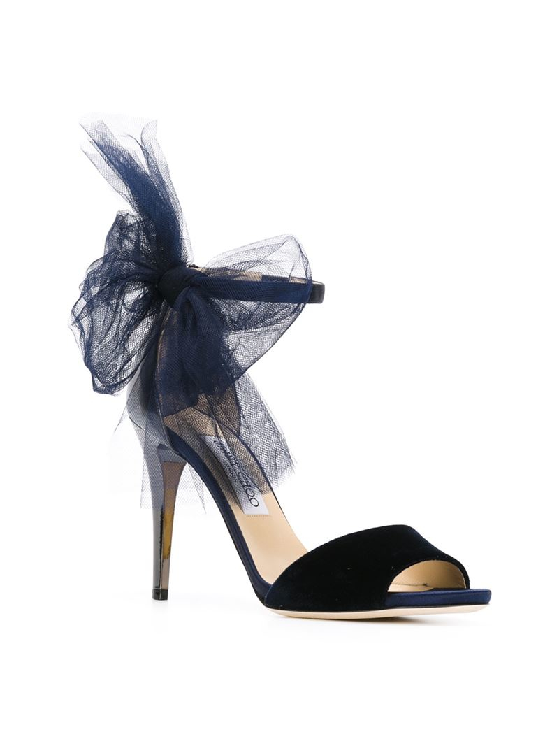 4c2450781b2b Jimmy Choo Lilyth Velvet and Leather Bow Sandals in Blue - Lyst