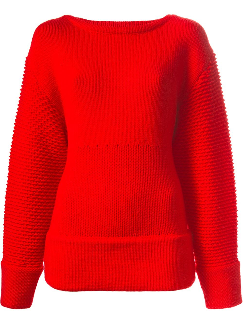 Helmut lang Textured Oversized Sweater in Red | Lyst