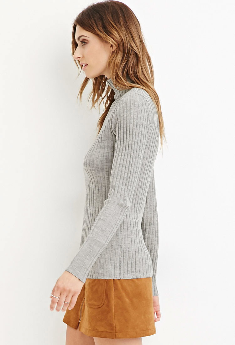 5ab011811ea282 Forever 21 Contemporary Ribbed Knit Turtleneck Sweater in Gray - Lyst
