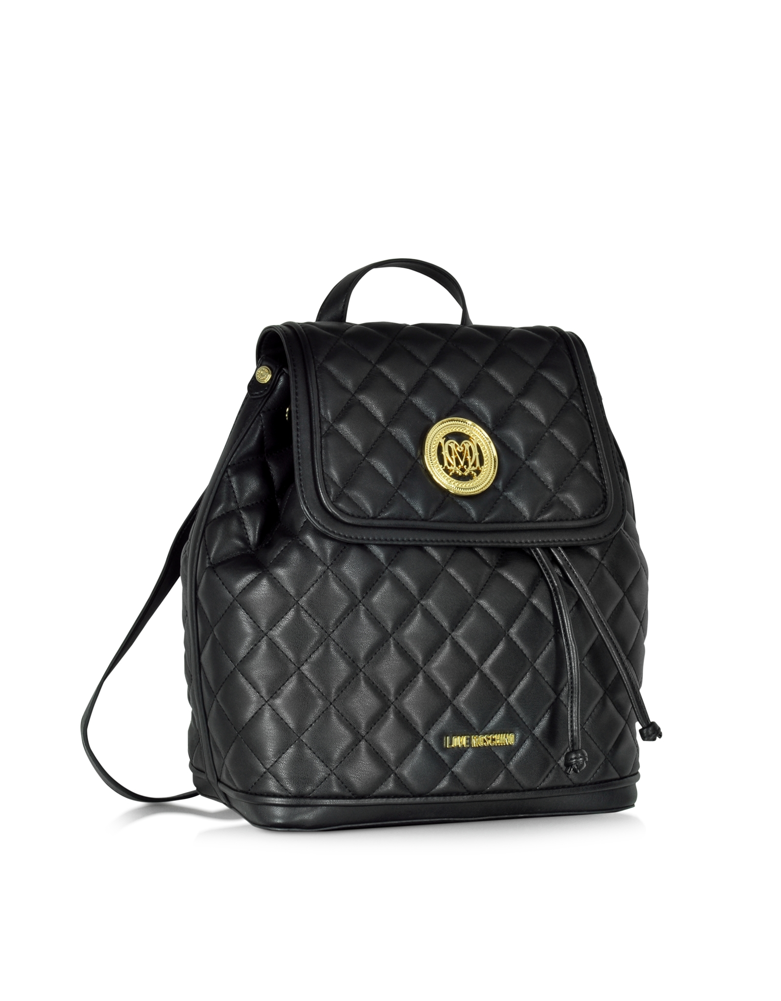 love moschino large quilted eco leather backpack in black. Black Bedroom Furniture Sets. Home Design Ideas