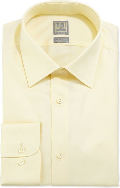 ike behar solid textured dress shirt light yellow in