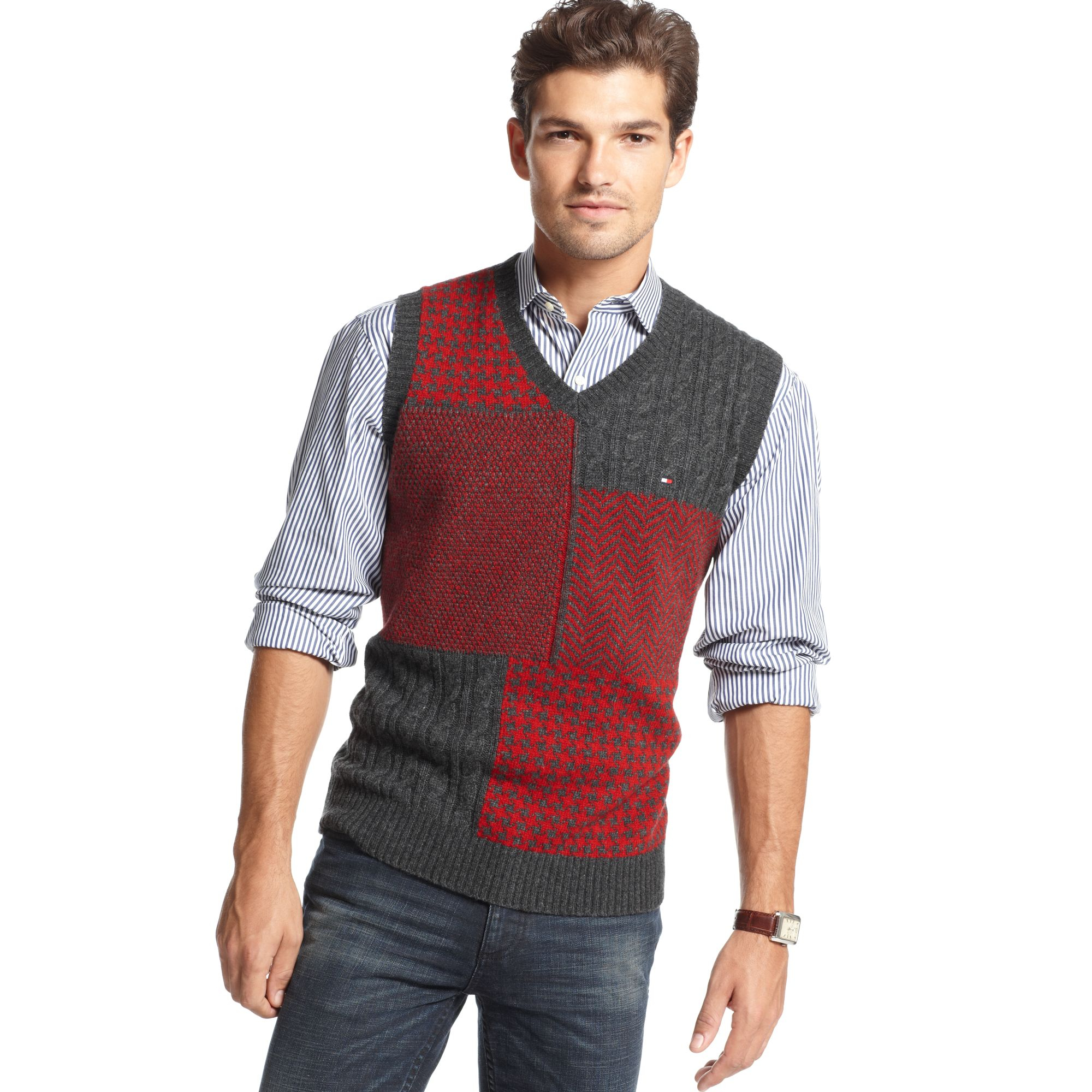 Tommy hilfiger Patchwork Plaid Sweater Vest in Red for Men | Lyst
