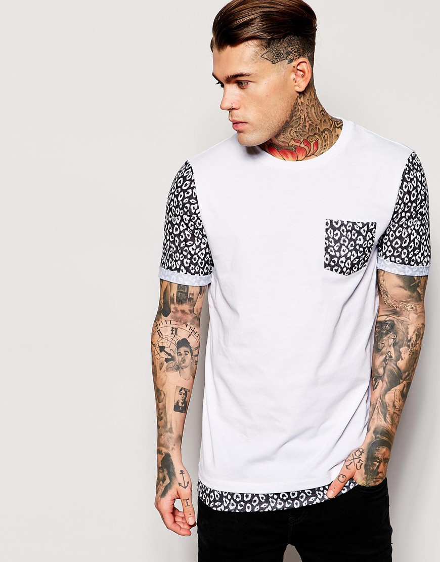 T Shirt With Leopard Print Pocket Bcd Tofu House