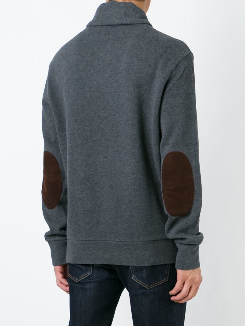 Lyst Polo Ralph Lauren Elbow Patch Sweater In Gray For Men