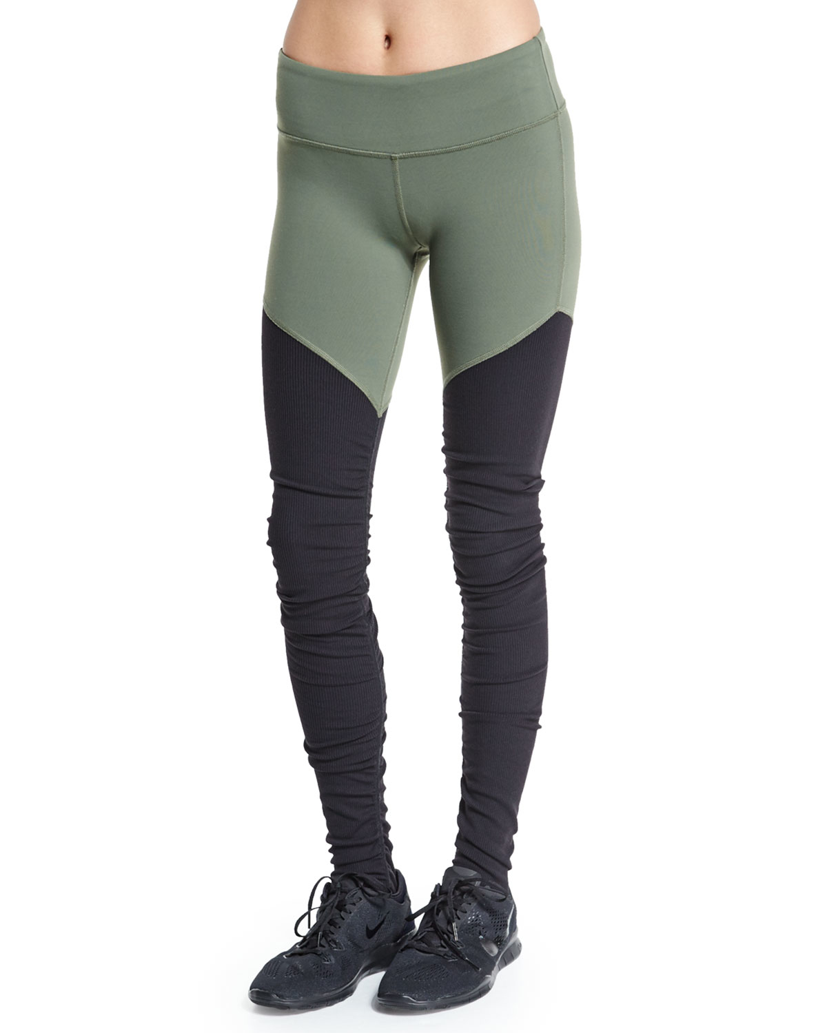 c1b6a7457f1be Alo Yoga Goddess 2 Colorblock Ribbed Sport Leggings in Green - Lyst