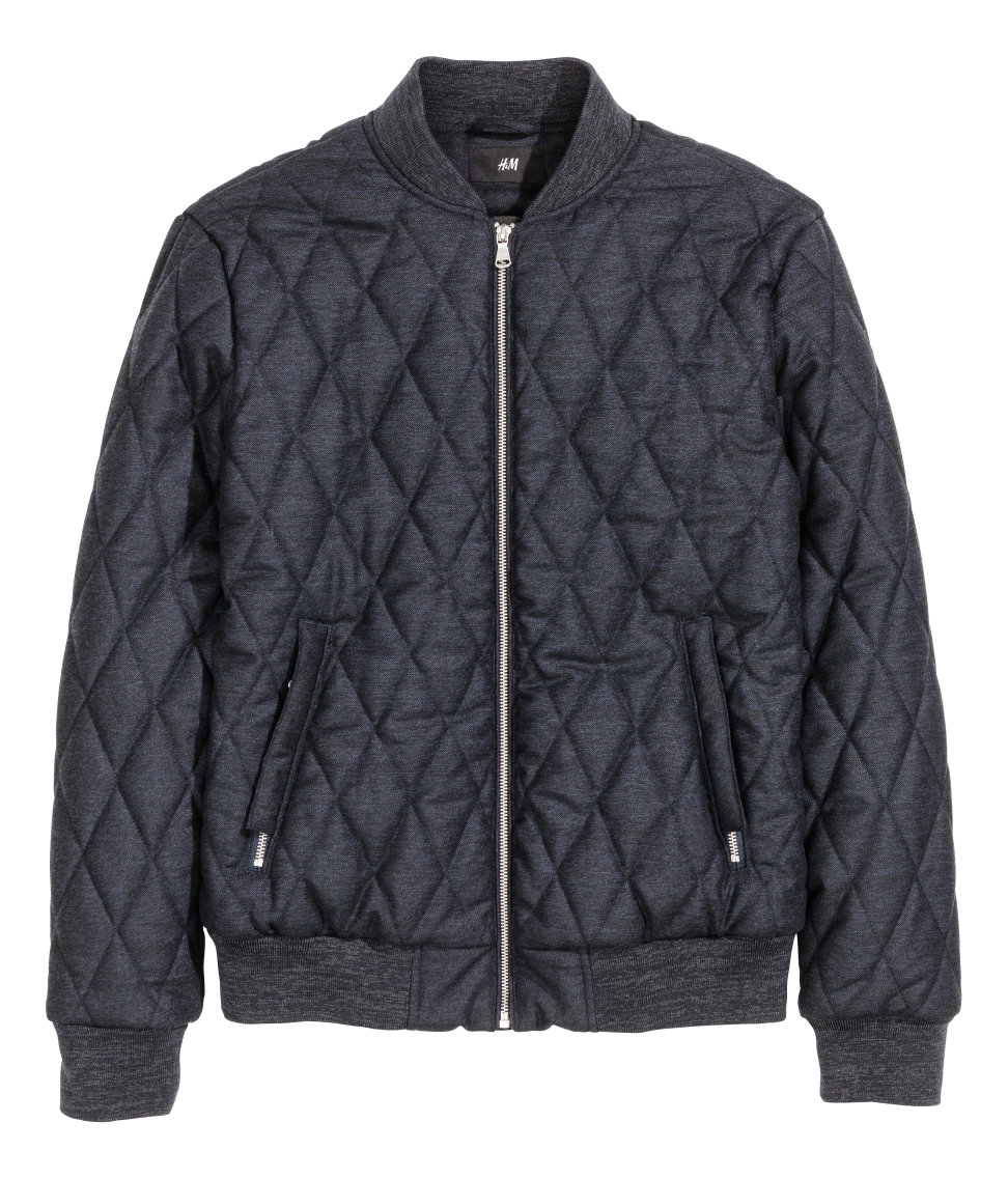 H Amp M Quilted Bomber Jacket In Blue For Men Lyst
