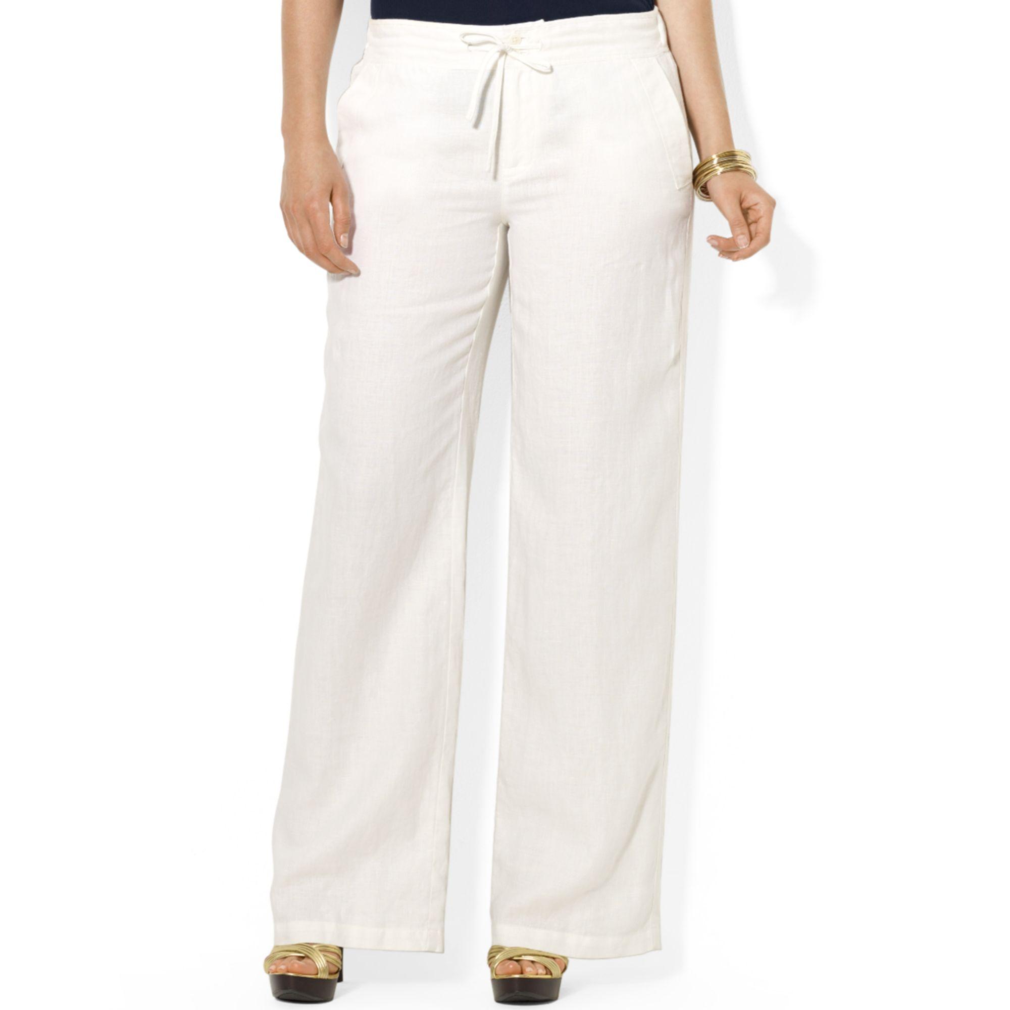 Lyst Lauren By Ralph Lauren Plus Size Wideleg Linen Pants In White