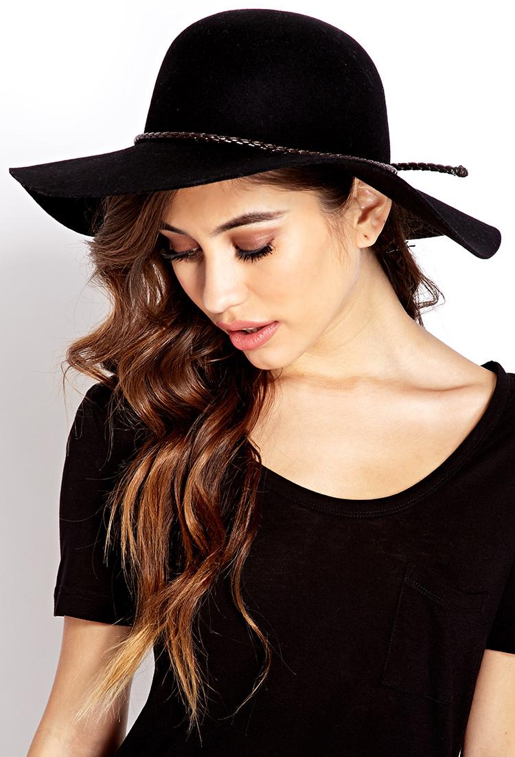 Lyst Forever 21 Posh Wool Wide Brim Hat In Black 7cab55f42b1b