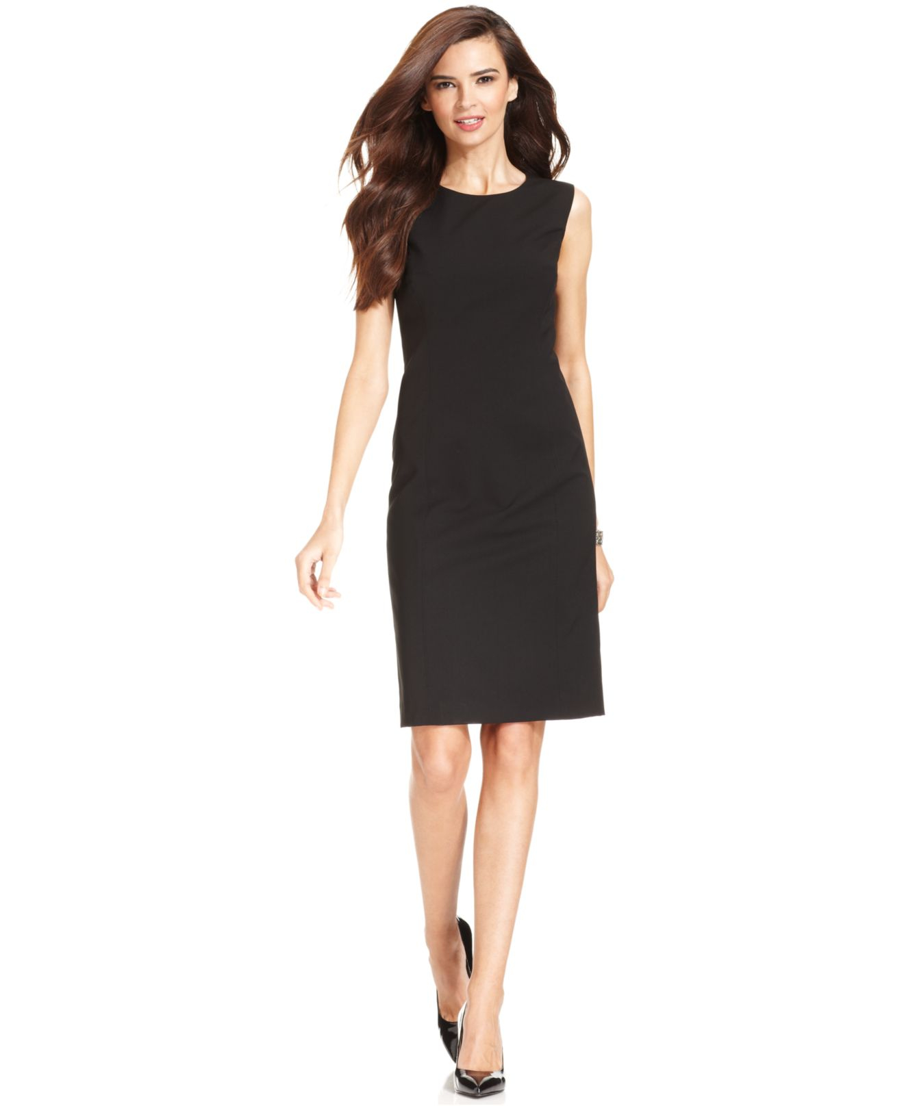 lyst jones new york sleeveless sheath dress in black. Black Bedroom Furniture Sets. Home Design Ideas