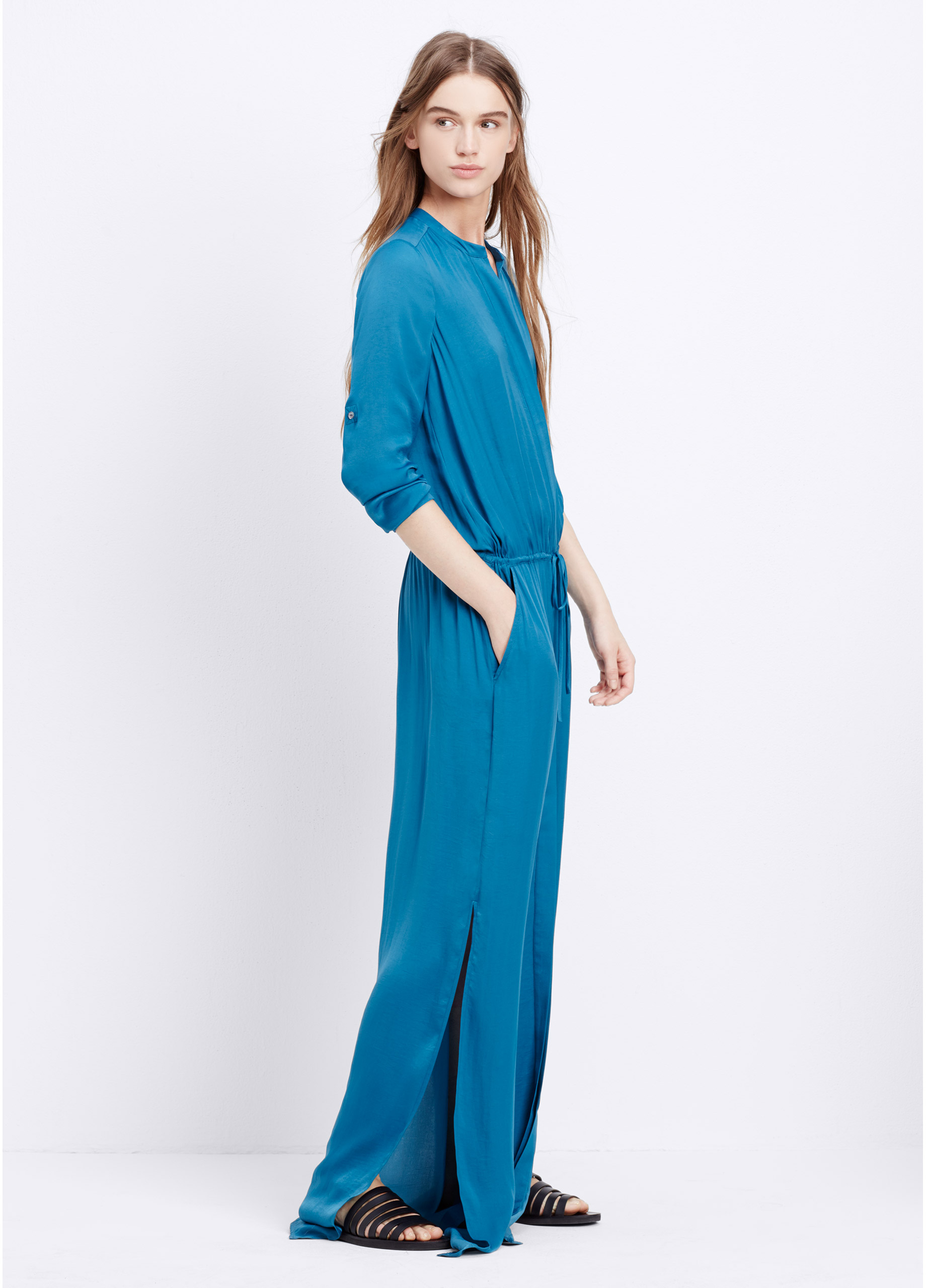 Lyst Vince Washed Satin Maxi Shirt Dress With Drawstring