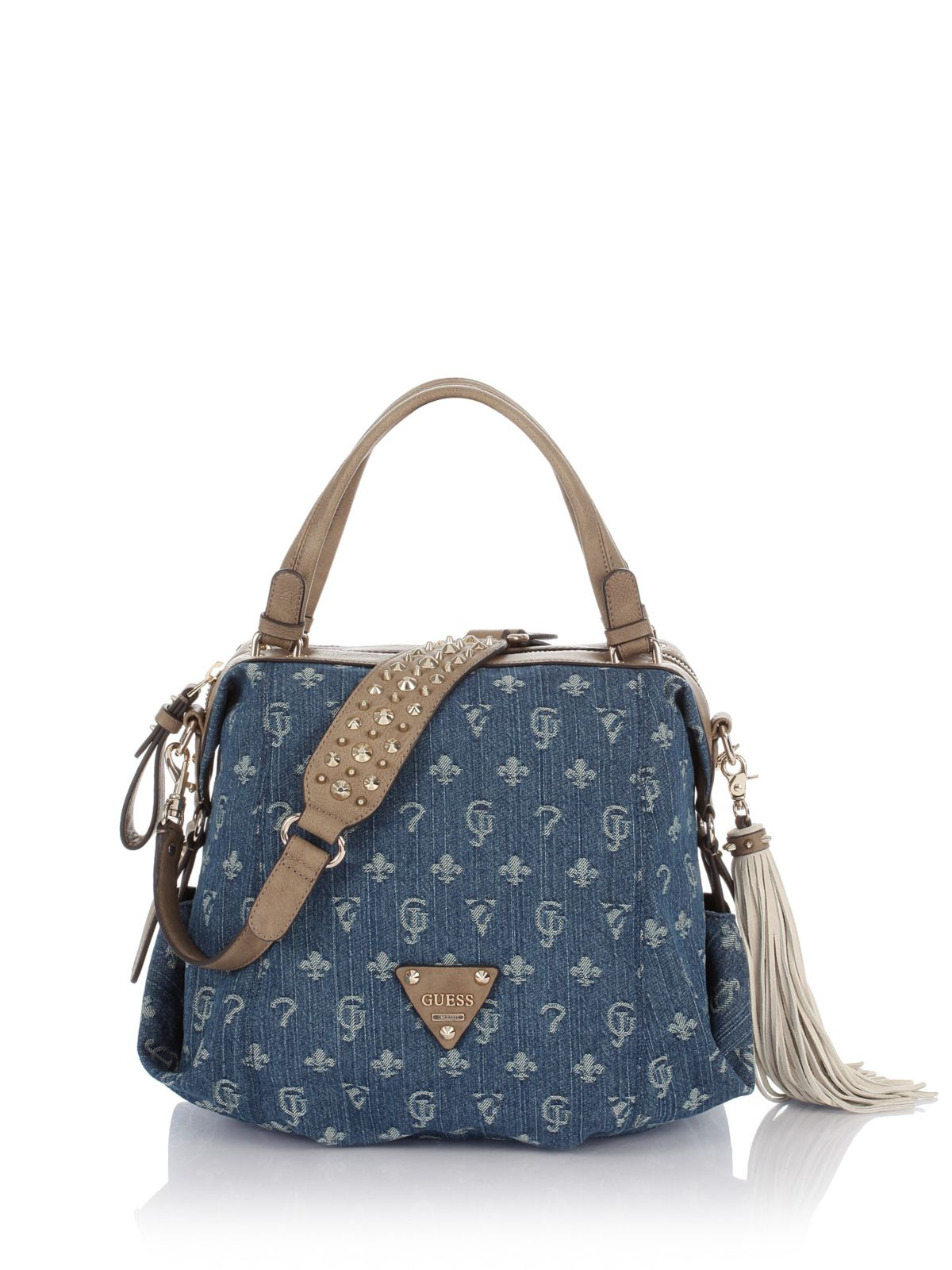 Guess Wild At Heart Lulu Denim Satchel Bag in Blue | Lyst