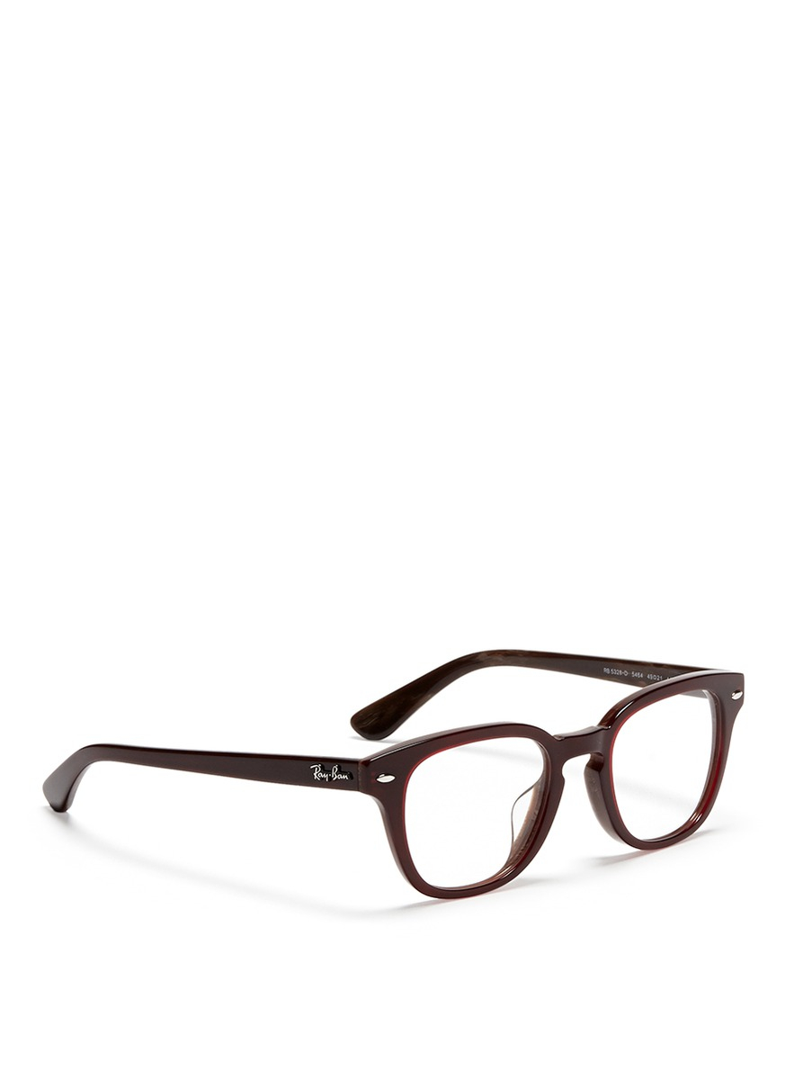 Ray Ban Square Frame Glasses : Ray-ban Square Frame Acetate Optical Glasses in Red Lyst