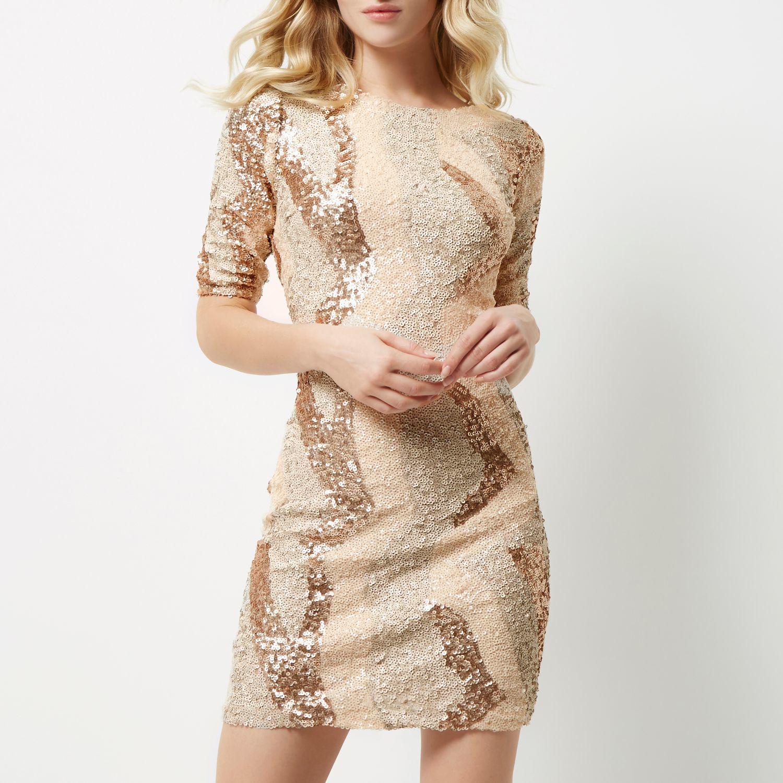 Lyst - River Island Beige Sequin Patchwork Bodycon Dress ...